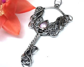 Pink Quartz, Silver jewelery, Handmade , Quartz pendant, Silver pendant