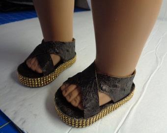 "18""  Doll Sandals -Dark Brown Ostrich Doll Sandals-Shown on my american girl doll"