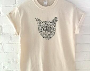 Halloween Shirt, Cat Shirt, Cat Screen Printed T Shirt
