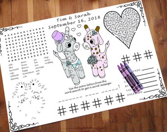 Giraffe Activity Page PDF.  Custom, Your Names & Date. Coloring, Maze, Connect the Dot, Tic Tac Toe. Word Search