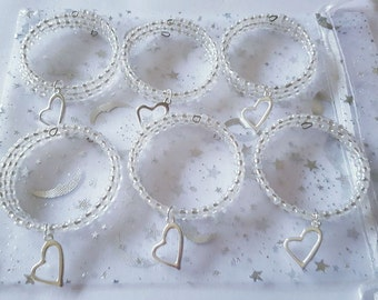 Bon Set Of 6 Wedding Napkin Rings, Beaded Wedding Napkin Rings, Pearl And  Silver Heart