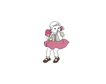 instant download Machine Embroidery Vintage little girl eat ice cream
