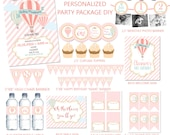Hot Air Balloon, Gold Glitter, Pink First Birthday, Personalized Party Package, DIY DIGITAL FILES