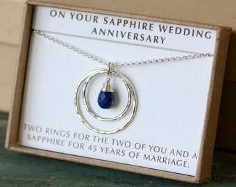 gifts for 45th wedding anniversary. 45th anniversary gift, wedding sapphire jewelry, gift gifts for v
