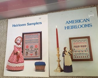 Lot of 2 American Heirlooms & Heirloom Samplers  by The Heirloom Shop published 1980 1982 Needlework Patterns