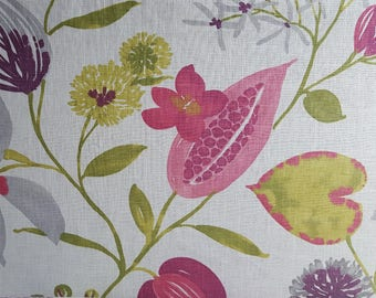 Upholstery Fabric, Pink and Green Floral,Home Decor Fabric, Designer Fabric, Ray of Sun, Braemore, By the Yard, Linen, Rayon,Home Furnishing