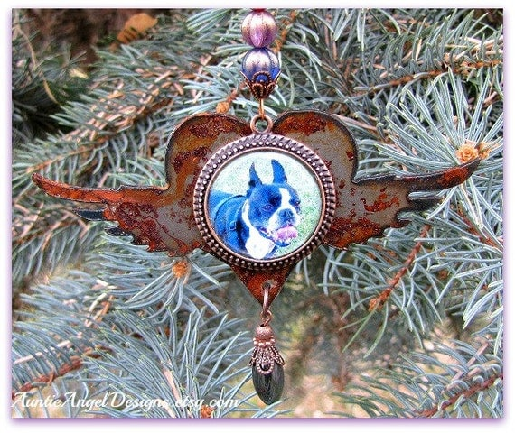 Rainbow Bridge Photo Ornament, Angel Pet Rustic Gift, Custom Pet Ornament, Pet Photo Gift, Dog Photo Ornament, Rainbow Bridge Pet Ornament