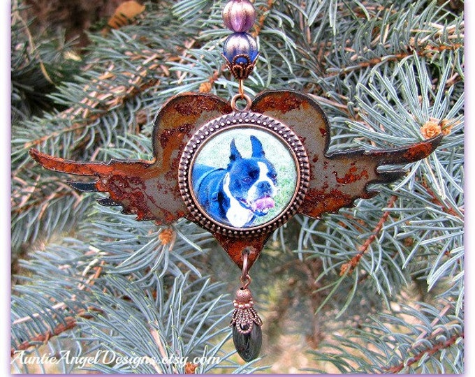 Featured listing image: Rainbow Bridge Pet Photo Ornament, Angel Pet Rusted Ornament, Custom Pet Sympathy Gift, Personalized Pet Photo Ornament, Dog Photo Ornament