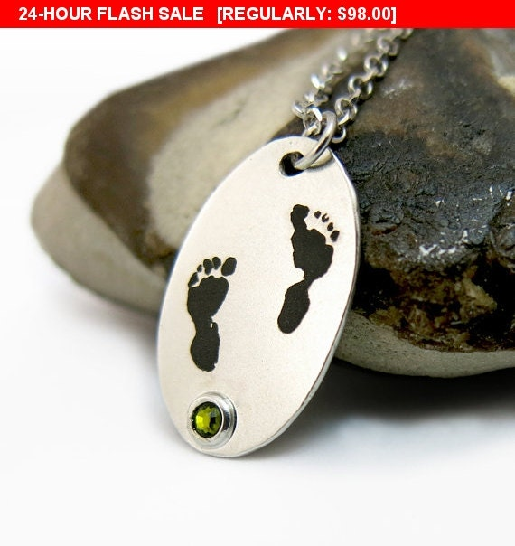 Personalized Baby Footprint Necklace With Birth By Jonjonjewel