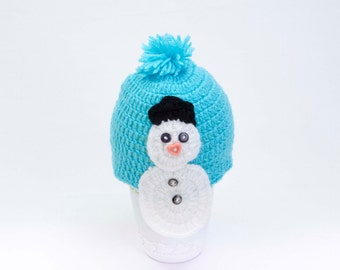 Crochet baby snowman Hat, Toddler hat ,children hat ,Newborn hat ,toddler crochet hat ,baby hat , with removable flowers