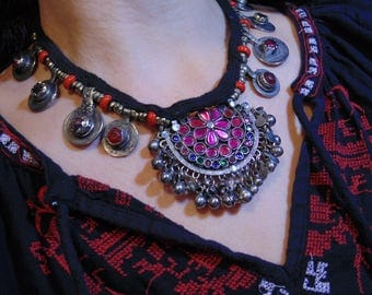 N9119 - Vintage Tribal Kuchi Coin Necklace - Afghani Ethnic Boho Statement Necklace