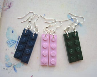 Plastic pendants earrings with colored bricks