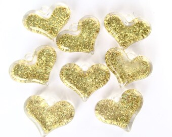 8 x gold glitter hearts - Gold hearts - Resin hearts - Resin heart pendants - Jewellery making - UK seller - Etsy UK - UK supplies