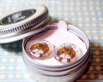 Hand drawn shrink plastic jewelry - JIFFY The Missing Cats Stud Earrings {Ready to Dispatch}