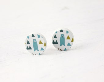 Big bear wood earrings B25