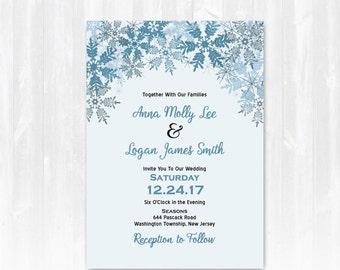 Snowflake Wedding Invitation DIY Digital File or Print (extra) Winter Wedding Invite Winter Wedding Invitation Snow Wedding Invitation