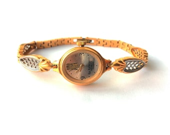 "Womens watches, Gold vintage watch. Soviet watch, Women's soviet watch, Vintage watch, Russian watch, ""Chaika"" 17 jewels, Mechanical watch"