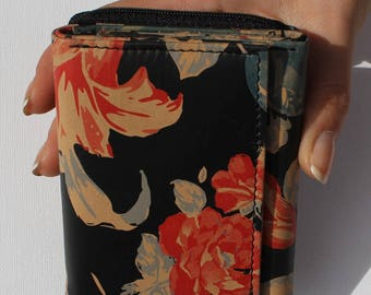 Floral Small Leather Trifold Wallet