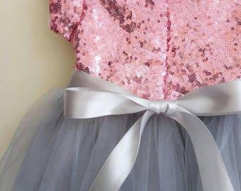 Flower girl's dress, pink and grey sequined dress, girls tutu dress, formal dress, birthday dress, wedding attend dress for girl