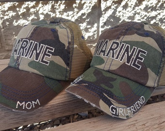 Marine Girlfriend Hat and Marine Mom Hat, Camouflage Trucker Caps available with mesh and non mesh backs