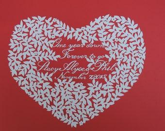 Custom Love Heart Wedding Anniversary Papercutting