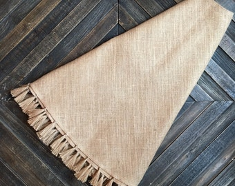 "Burlap Tassel Tree Skirt- 60"" Christmas Tree Skirt 