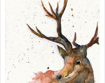 Stag Deer Portrait Wildlife Art by Emma Steel, Daughter of award winning artist John Silver. Personally signed A4 or A3 Print. ESWI055SP