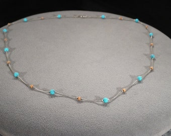Vintage Art Deco Style Silver Tone Faux Turquoise Round Beaded Necklace Jewelry   -K#42