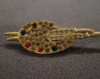 Vintage Art Deco Style Yellow Gold Tone Rhinestone Glass Stone Artist Sketch Pad Design Pin Brooch Jewelry -K#37