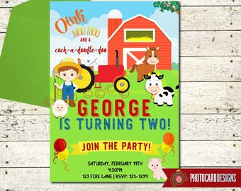 Farm Birthday Invitation | Farm Birthday | Farm Animal Birthday | Barnyard Birthday Invitation | 1st Birthday | Digital | invite | Party