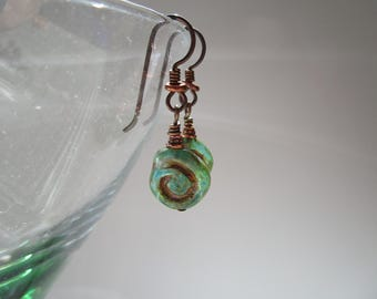 Green Symbolic Organic Celtic Spiral Czech Glass Earrings Hypoallergenic Unique Green Circle of Life Natural Earrings with Niobium Ear Wires