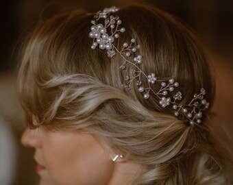 Bridal Halo/ Vine/ Tiara with  Rhinestones Crystal beads and Faux pearls