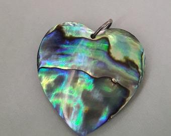 Medium Paua Shell Heart Pendant Jewelry Supplies