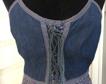 Boho hippie denim Gunne Sax sundress. Vintage 11/13.