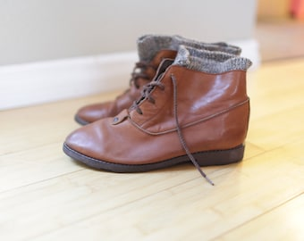 vintage brown leather sweater oxfords ankle boots lace up womens 6 *
