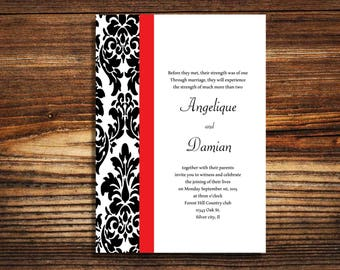 125 wedding invitations Black and Red Damask wedding invite
