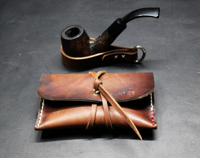 Tobacco pouch and pipe holder leather accessories GIFT set