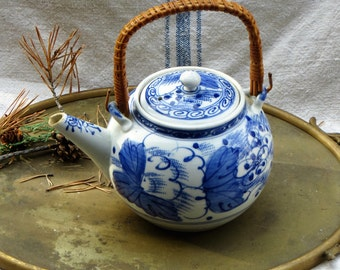 Ceramic Teapot Blue and White Teapot Asian Teapot with Strainer Bamboo Handle