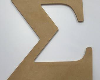 "Greek Letter ""Sigma"" MDF Wood 10"""