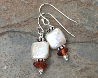 Pearl and Amber Earrings, Square Pearl Earrings, 1.25 inches long.