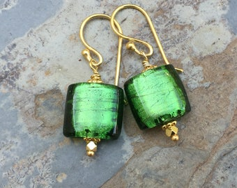 Green Murano Glass Earrings with Gold Vermeil, 1.25 inches long