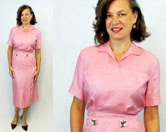 "50s dress / 1950s dress / Wiggle Dress / 50s skirt suit / 50s skirt shirt / 1950s skirt shirt / Silk Suit / Silk Wiggle / Pink Silk / W24"""