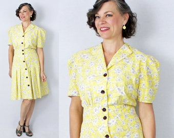 "1940s Day Dress / 40s Day Dress / Yellow Floral Dress / 40s Dress / 1940s Dress / Puff Sleeve Dress / Day Dress / Bust up to 38"" Waist 29"