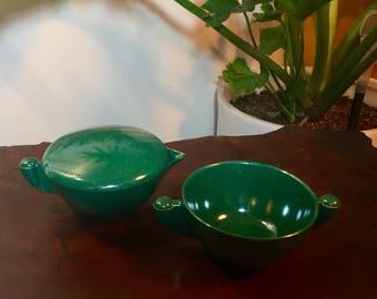 Vintage Branchell Melmac Sugar Bowl and Creamer Set - Color Deep Emerald Green