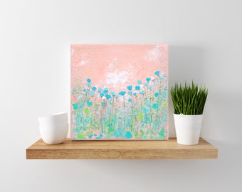floral painting - roses - shabby cottage chic decor -  pink and aqua - art for nursery- mini art