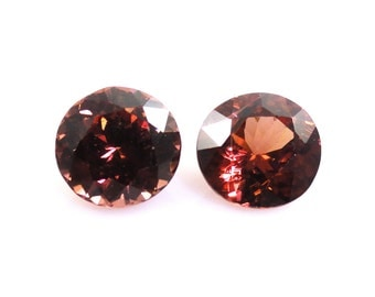 Natural Red Zircon Round 7mm Approximately 3.32 Carat Matched Pair (12009)