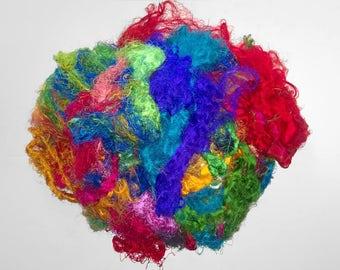 Multicolor Sari Silk Fiber -Silk Cloud roving for spinning or felting - rainbow silk waste blue yellow purple red threads yarn papermaking