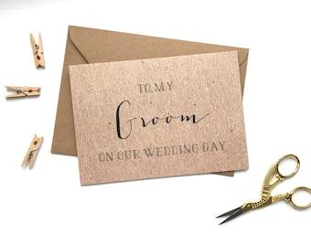 To my Groom on our Wedding Day card. Kraft. Groom. Wedding card. Thank you. Bride to groom.