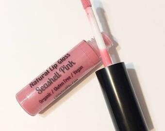 SEASHELL PINK Natural Organic Lip Gloss - Gluten Free Vegan Makeup - Botanical Plant Infused Lip Glaze