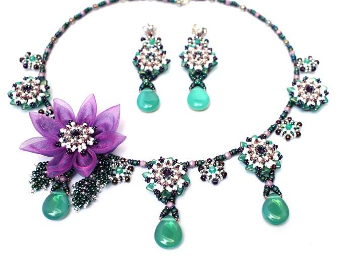"2-tlg. ""Ayaka"" jewellery set necklace & earrings"
